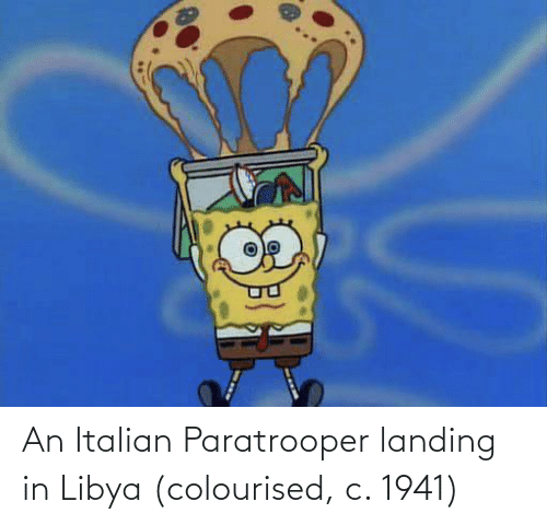 italian: An Italian Paratrooper landing in Libya (colourised, c. 1941)