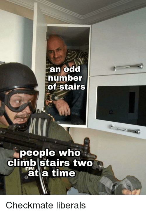 aia: an odd  numbe  of stairs  people who  climb Stairs two  ât a time  AIA Checkmate liberals