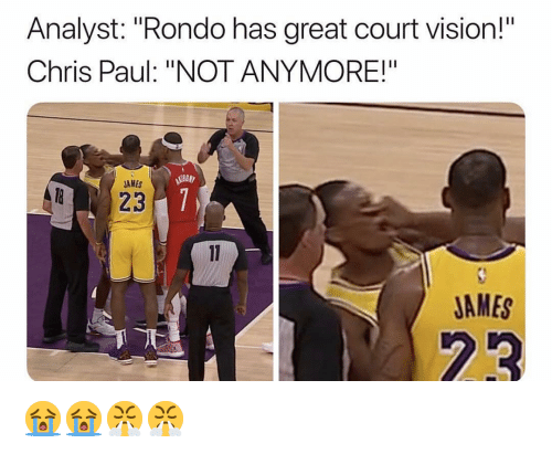"Chris Paul, Nba, and Vision: Analyst: ""Rondo has great court vision!  Chris Paul: ""NOT ANYMORE!""  AMES  JAMES 😭😭😤😤"