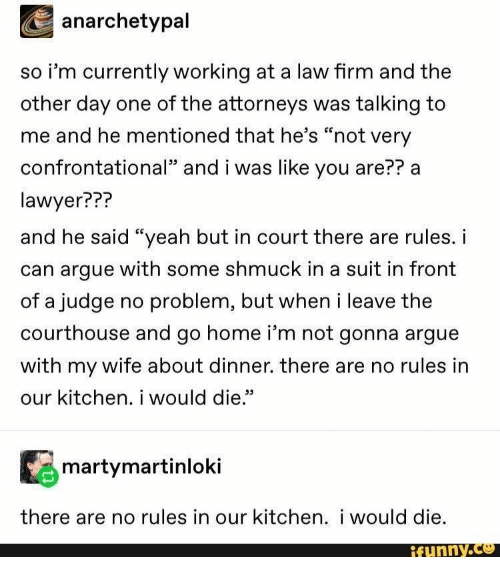 "Arguing, Lawyer, and Yeah: anarchetypal  so i'm currently working at a law firm and the  other day one of the attorneys was talking to  me and he mentioned that he's ""not very  confrontational"" and i was like you are?? a  lawyer???  and he said ""yeah but in court there are rules. i  can argue with some shmuck in a suit in front  of a judge no problem, but when i leave the  courthouse and go home i'm not gonna argue  with my wife about dinner. there are no rules in  our kitchen. i would die.""  martymartinloki  there are no rules in our kitchen. i would die.  ifunny.co"
