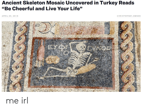 "Life, Live, and Turkey: Ancient Skeleton Mosaic Uncovered in Turkey Reads  ""Be Cheerful and Live Your Life""  CHRISTOPHER JOBSON  APRIL 28, 2016  EYNOD me irl"
