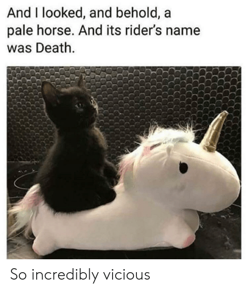Vicious: And I looked, and behold, a  pale horse. And its rider's name  was Death. So incredibly vicious