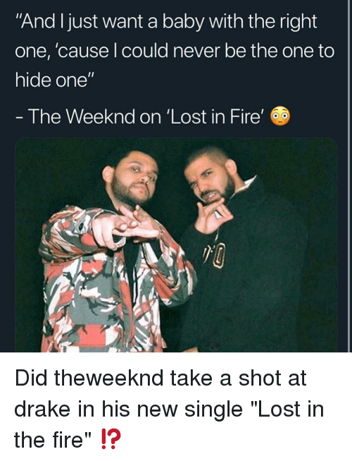 "The Weeknd: And Ijust want a baby with the right  one, 'cause l could never be the one to  hide one""  - The Weeknd on 'Lost in Fire' Did theweeknd take a shot at drake in his new single ""Lost in the fire"" ⁉️"