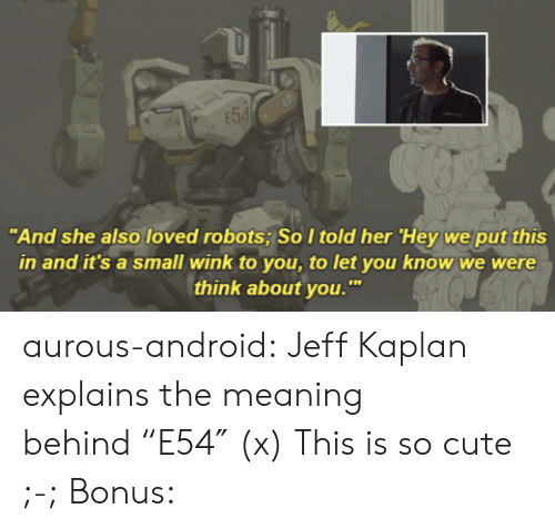"""Kaplan: """"And she also loved robots; SoItold her 'Hey we put this  in and it's a small wink to you, to let you know we were  think about you. aurous-android: Jeff Kaplan explains the meaning behind""""E54″ (x) This is so cute ;-; Bonus:"""