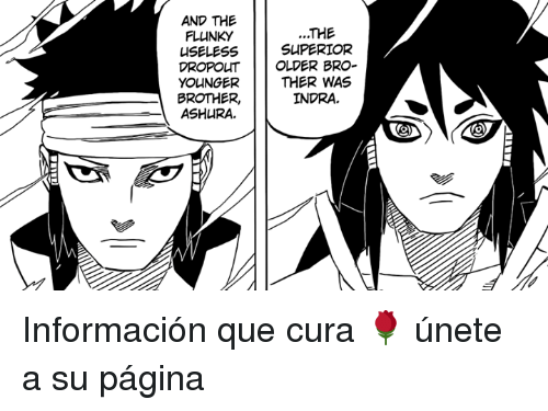 Ash, Memes, and Superior: AND THE  FLUNKY  USELESS  DROPO  YOUNGER  BROTHER,  ASH RA.  THE  SUPERIOR  UT OLDER BRO-  THER WAS  INDRA Información que cura 🌹 únete a su página