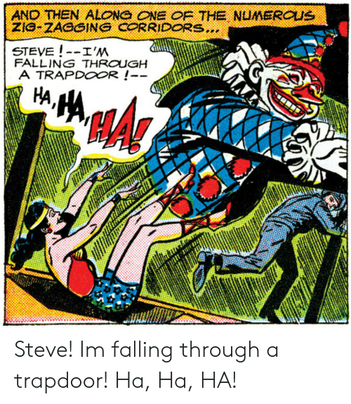 One, Steve, and Ha Ha: AND THEN ALONG ONE OF THE NUMEROUS  ZIG-ZAGGING CORRIDORS...  STEVE!-I'M  FALLING THROUGH  A TRAPDOOR!- Steve! Im falling through a trapdoor! Ha, Ha, HA!