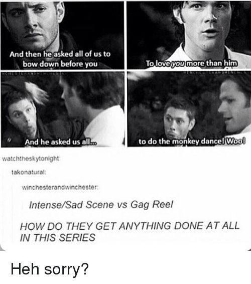 Bow Down: And then he asked all of us to  bow down before you  To loveyoy more than him  And he asked us all  to do the monkey dance! Woo  Wool  watchtheskytonight  takonatural:  winchesterandwinchester  Intense/Sad Scene vs Gag Reel  HOW DO THEY GET ANYTHING DONE AT ALL  IN THIS SERIES Heh sorry?