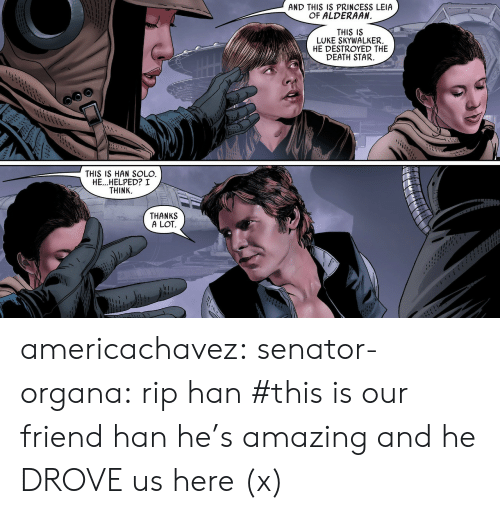 Princess Leia: AND THIS IS PRINCESS LEIA  OF ALDERAAN  I1  THIS IS  LUKE SKYWALKER.  HE DESTROYED THE  DEATH STAR.  THIS IS HAN SOLO  HE...HELPED? I  THINK.  THANKS  A LOT americachavez: senator-organa: rip han #this is our friend han he's amazing and he DROVE us here (x)
