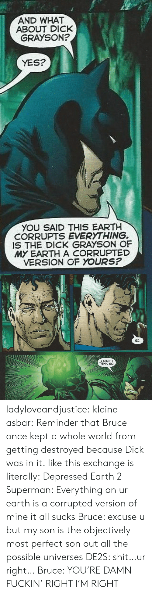 objectively: AND WHAT  GRAYSON?  ABOUT DICK  YES?  YOU SAID THIS EARTH  CORRUPTS EVERYTHING.  IS THE DICK GRAYSON OF  MY EARTH A CORRUPTED  VERSION OF YOURS?   NO   I DIDN'T  THINK SO ladyloveandjustice:  kleine-asbar: Reminder that Bruce once kept a whole world from getting destroyed because Dick was in it. like this exchange is literally: Depressed Earth 2 Superman: Everything on ur earth is a corrupted version of mine it all sucks Bruce: excuse u but my son is the objectively most perfect son out all the possible universes DE2S: shit…ur right… Bruce: YOU'RE DAMN FUCKIN' RIGHT I'M RIGHT