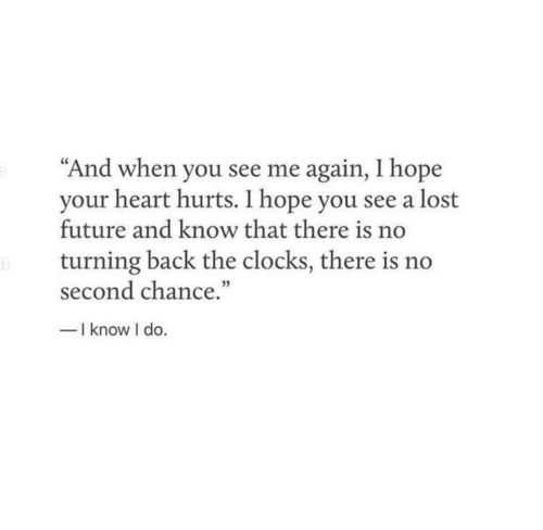 """Future, Lost, and Heart: """"And when you see me again, I hope  your heart hurts. I hope you see a lost  future and know that there is no  turning back the clocks, there is no  second chance.""""  -I know I do."""