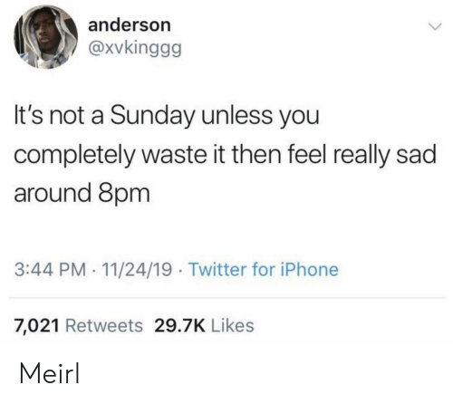 Unless: anderson  @xvkinggg  It's not a Sunday unless you  completely waste it then feel really sad  around 8pm  3:44 PM- 11/24/19 Twitter for iPhone  7,021 Retweets 29.7K Likes Meirl