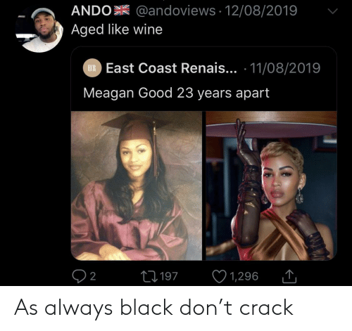 As Always: ANDO @andoviews 12/08/2019  Aged like wine  EXR East Coast Renais... 11/08/2019  Meagan Good 23 years apart  L197  2  1,296 As always black don't crack