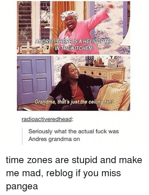 pangea: ANDRE!! HERE  IS A HELIGOPTER  IN THE KITCHEN!  Grandma, that's just the ceiling fant  radioactiveredhead:  Seriously what the actual fuck was  Andres grandma on time zones are stupid and make me mad, reblog if you miss pangea
