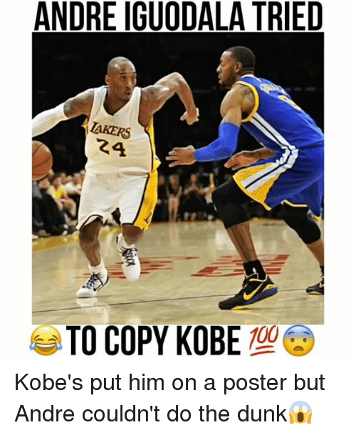 posterization: ANDRE IGUODALA TRIED  AKERS  24  TO COPY KOBE Kobe's put him on a poster but Andre couldn't do the dunk😱
