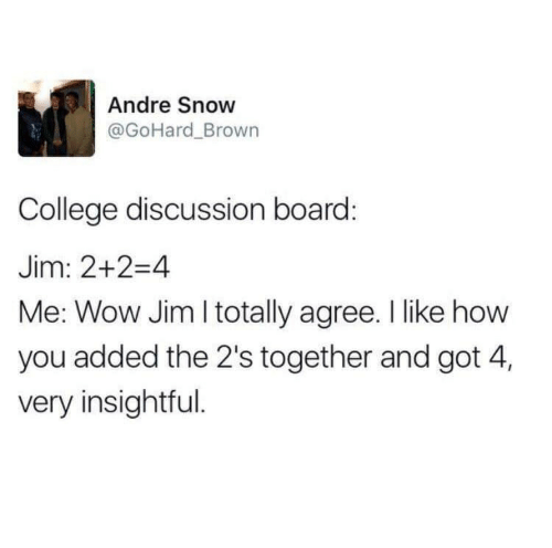 College, Wow, and Snow: Andre Snow  @GoHard_Brown  College discussion board:  Jim: 2+2-4  Me: Wow Jim I totally agree. I like how  you added the 2's together and got 4,  very insightful.