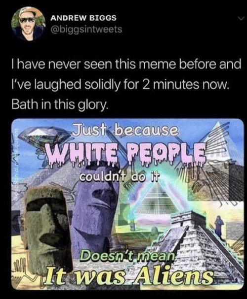Just Because: ANDREW BIGGS  @biggsintweets  Thave never seen this meme before and  I've laughed solidly for 2 minutes now.  Bath in this glory.  Just because  WHITE PEOPLE  couldn't do it  Doesn't méan  It was Aliens