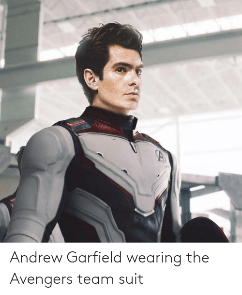 andrew: Andrew Garfield wearing the Avengers team suit