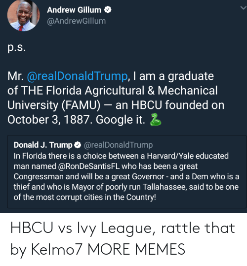 Dank, Google, and Memes: Andrew Gillum  @AndrewGillum  p.s.  Mr. @realDonaldTrump, I am a graduate  of THE Florida Agricultural & Mechanical  University (FAMU)- an HBCU founded on  October 3,1887. Google it  Donald J. Trump@realDonaldTrump  In Florida there is a choice between a Harvard/Yale educated  man named @RonDeSantisFL who has been a great  Congressman and will be a great Governor-and a Dem who is a  thief and who is Mayor of poorly run Tallahassee, said to be one  of the most corrupt cities in the Country! HBCU vs Ivy League, rattle that by Kelmo7 MORE MEMES