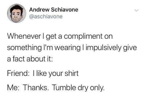 Friend, Shirt, and Dry: Andrew Schiavone  @aschiavone  Whenever I get a compliment on  something I'm wearing impulsively give  a fact about it:  Friend: I like your shirt  Me: Thanks. Tumble dry only