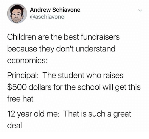 Children, Dank, and School: Andrew Schiavone  aschiavonee  Children are the best fundraisers  because they don't understand  economics  Principal: The student who raises  $500 dollars for the school will get this  free hat  12 year old me: That is such a great  deal