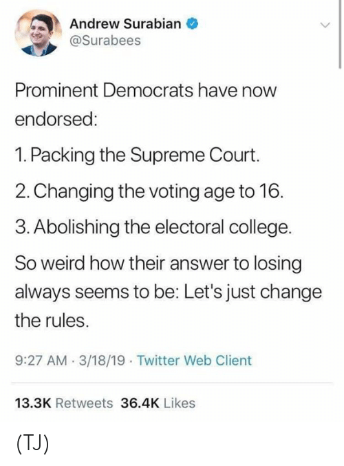 Supreme Court: Andrew Surabian  Surabees  Prominent Democrats have now  endorsed:  1. Packing the Supreme Court.  2. Changing the voting age to 16.  3. Abolishing the electoral college.  So weird how their answer to losing  always seems to be: Let's just change  the rules.  9:27 AM.3/18/19 Twitter Web Client  13.3K Retweets 36.4K Likes (TJ)