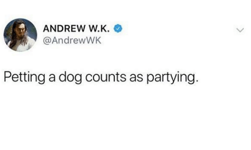 Dank, 🤖, and Dog: ANDREW W.K.  @AndrewWK  Petting a dog counts as partying