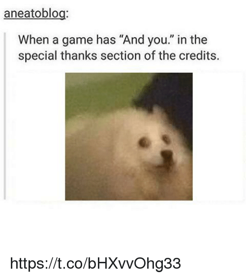 """Gamely: aneatoblog  When a game has """"And you."""" in the  special thanks section of the credits. https://t.co/bHXvvOhg33"""