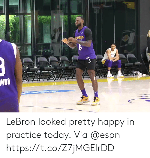 Espn, Memes, and Happy: ANGELES  NDOA LeBron looked pretty happy in practice today.  Via @espn https://t.co/Z7jMGEIrDD