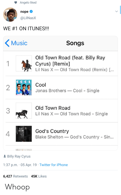 iTunes: Angelo liked  nope  @LilNasX  WE#1 ON ITUNES!!!  Music  Songs  Old Town Road (feat. Billy Ray  Cyrus) [Remix]  Lil Nas X Old Town Road (Remix) [...  1  Cool  2  Jonas Brothers  Cool Single  Old Town Road  3  Lil Nas X  Old Town Road - Single  BLAKE  SHELTON  God's Country  Blake Shelton God's Country - Sin...  2Billy Ray Cyrus  1:37 p.m. 05 Apr. 19 Twitter for iPhone  6,427 Retweets 45K Likes Whoop