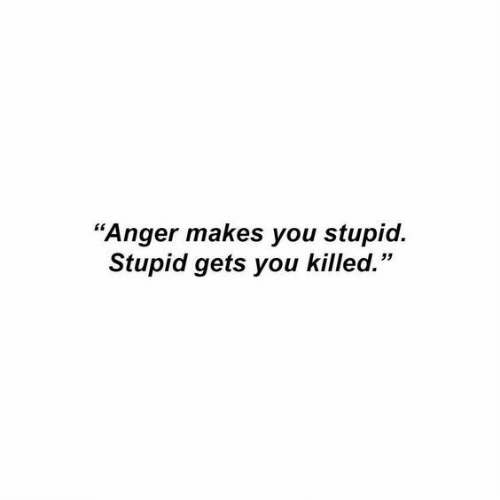 "Anger, You, and Stupid: ""Anger makes you stupid.  Stupid gets you killed."""