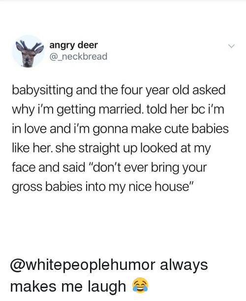 "Cute, Deer, and Love: angry deer  @_neckbread  babysitting and the four year old asked  why i'm getting married. told her bc i'm  in love and i'm gonna make cute babies  like her. she straight up looked at my  face and said ""don't ever bring your  gross babies into my nice house"" @whitepeoplehumor always makes me laugh 😂"