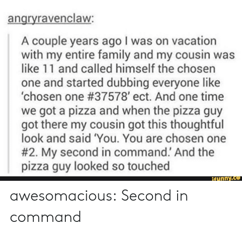 Command: angryravenclaw:  A couple years ago I was on vacation  with my entire family and my cousin was  like 11 and called himself the chosen  one and started dubbing everyonelike  'chosen one #37578' ect. And one time  we got a pizza and when the pizza guy  got there my cousin got this thoughtful  look and said 'You. You are chosen one  #2. My second in command. And the  pizza guy looked so touched  ifunny.co awesomacious:  Second in command