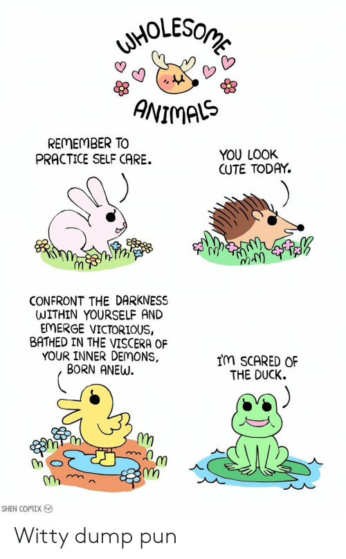 Victorious: ANIMAS  REMEMBER TO  PRACTICE SELF CARE.  YOU LOOK  CUTE TODAY.  1y  CONFRONT THE DARKNESS  WITHIN YOURSELF AND  EMERGE VICTORIOUS,  BATHED IN THE VISCERA OF  YOUR INNER DEMONS,  BORN ANEW.  IM SCARED OF  THE DUCK.  스  m,  SHEN COMIX Witty dump pun