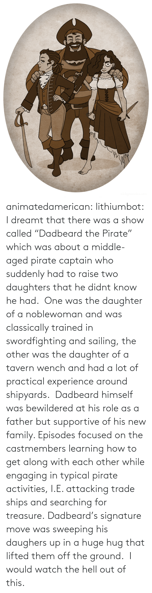 "Activities: animatedamerican: lithiumbot:  I dreamt that there was a show called ""Dadbeard the Pirate"" which was about a middle-aged pirate captain who suddenly had to raise two daughters that he didnt know he had.  One was the daughter of a noblewoman and was classically trained in swordfighting and sailing, the other was the daughter of a tavern wench and had a lot of practical experience around shipyards.  Dadbeard himself was bewildered at his role as a father but supportive of his new family. Episodes focused on the castmembers learning how to get along with each other while engaging in typical pirate activities, I.E. attacking trade ships and searching for treasure. Dadbeard's signature move was sweeping his daughers up in a huge hug that lifted them off the ground.   I would watch the hell out of this."