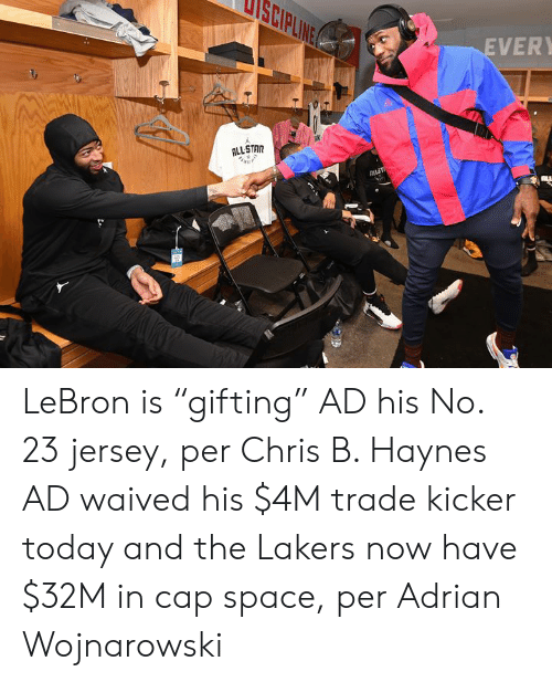 """Los Angeles Lakers, Lebron, and Space: ANITI  EVER  ALLSTAR  ak  ALLT LeBron is """"gifting"""" AD his No. 23 jersey, per Chris B. Haynes  AD waived his $4M trade kicker today and the Lakers now have $32M in cap space, per Adrian Wojnarowski"""
