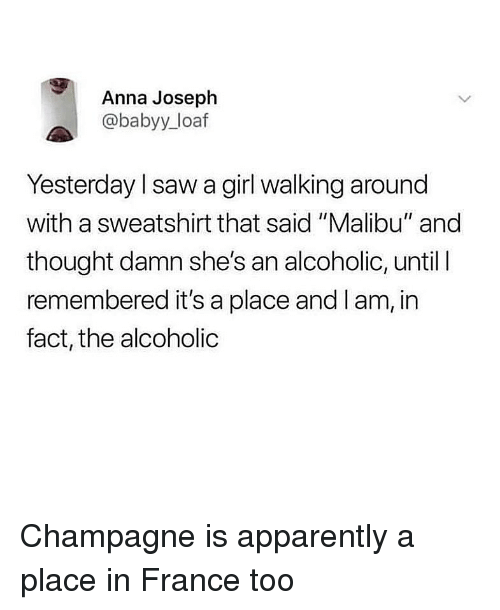 """Anna, Apparently, and Saw: Anna Joseph  @babyy_loaf  Yesterday l saw a girl walking around  with a sweatshirt that said """"Malibu"""" and  thought damn she's an alcoholic, until l  remembered it's a place and I am, in  fact, the alcoholic Champagne is apparently a place in France too"""