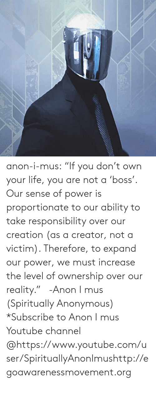 "Responsibility: anon-i-mus:                   ""If you don't own your life, you are not a 'boss'. Our sense of power is proportionate to our ability to take responsibility over our creation (as a creator, not a victim). Therefore, to expand our power, we must increase the level of ownership over our reality.""   -Anon I mus (Spiritually Anonymous)    *Subscribe to Anon I mus Youtube channel @https://www.youtube.com/user/SpirituallyAnonImushttp://egoawarenessmovement.org"