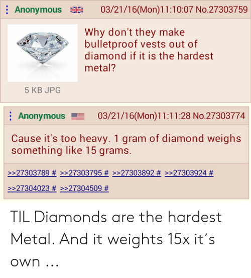 Why diamond is the hardest metal
