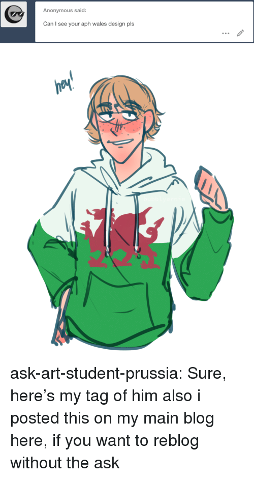 hetalia: Anonymous said:  Can I see your aph wales design pls ask-art-student-prussia:  Sure, here's my tag of himalso i posted this on my main blog here, if you want to reblog without the ask