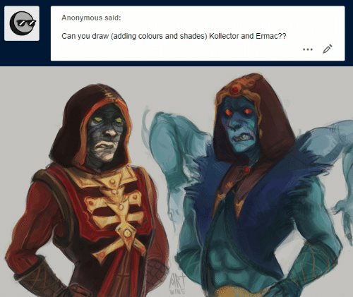 Anonymous, Can, and You: Anonymous said:  Can you draw (adding colours and shades) Kollector and Ermac??   AKT  WINS