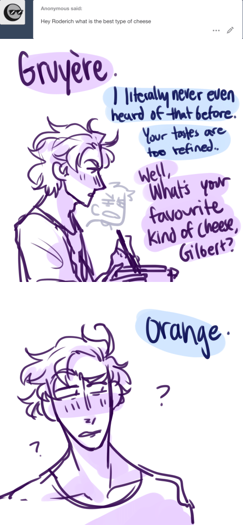 Anonymous, Best, and What Is: Anonymous said:  Hey Roderich what is the best type of cheese   Gruyere  litesaly never even  heard of that before  Your tostes ase  too refined  Well  Whut's your  favourite  Kind of Cheese  Gilbert?   Ora  17