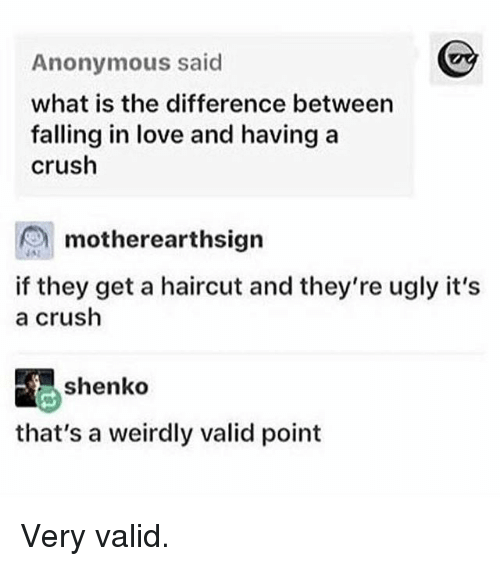 Valid Point: Anonymous said  what is the difference between  falling in love and having a  crush  motherearthsigrn  motherearthsign  is  if they get a haircut and they're ugly it's  a crush  shenko  that's a weirdly valid point Very valid.