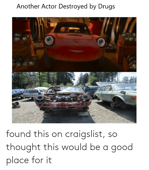 Craigslist: Another Actor Destroyed by Drugs found this on craigslist, so thought this would be a good place for it
