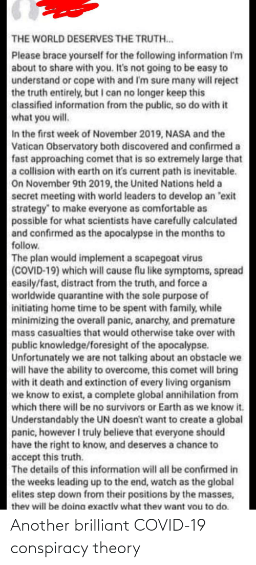 Conspiracy Theory: Another brilliant COVID-19 conspiracy theory