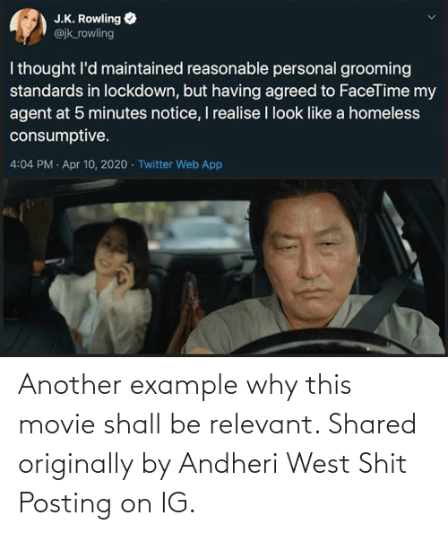 Shit Posting: Another example why this movie shall be relevant. Shared originally by Andheri West Shit Posting on IG.