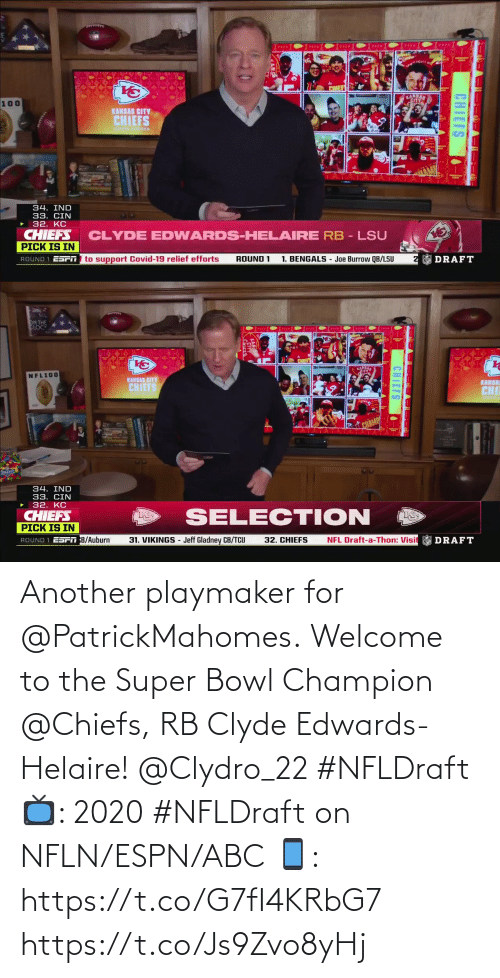 Chiefs: Another playmaker for @PatrickMahomes.  Welcome to the Super Bowl Champion @Chiefs, RB Clyde Edwards-Helaire! @Clydro_22 #NFLDraft  📺: 2020 #NFLDraft on NFLN/ESPN/ABC 📱: https://t.co/G7fI4KRbG7 https://t.co/Js9Zvo8yHj