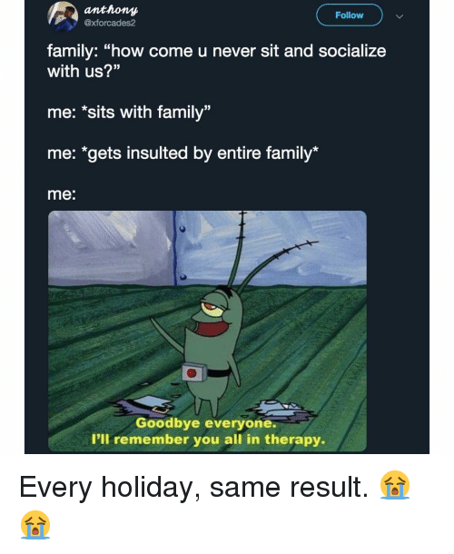 "Family, Memes, and Never: anthony  xforcades2  Follow  family: ""how come u never sit and socialize  with us?""  me: *sits with family""  me: ""gets insulted by entire family*  me:  Goodbye everyone.  I'll remember you all in therapy. Every holiday, same result. 😭😭"