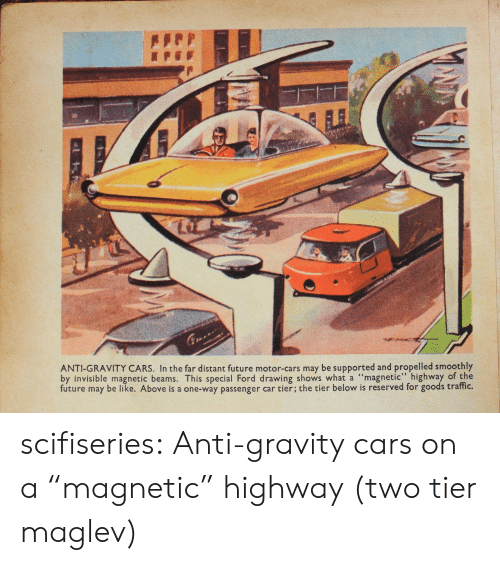 """anti-gravity: ANTI-GRAVITY CARS. In the far distant future motor-cars may be supported and propelled smoothly  by invisible magnetic beams. This special Ford drawing shows what a """"magnetic"""" highway of the  future may be like. Above is a one-way passenger car tier; the tier below is reserved for goods traffic. scifiseries:  Anti-gravity cars on a """"magnetic"""" highway (two tier maglev)"""