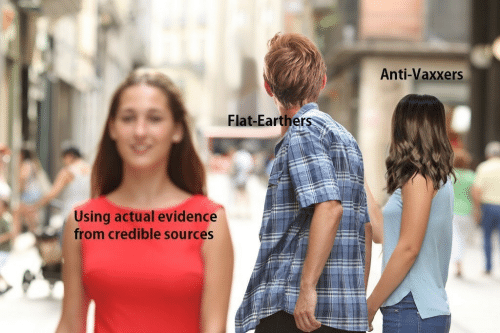 Anti Vaxxers: Anti-Vaxxers  Flat-Earthers  Using actual evidence  from credible sources