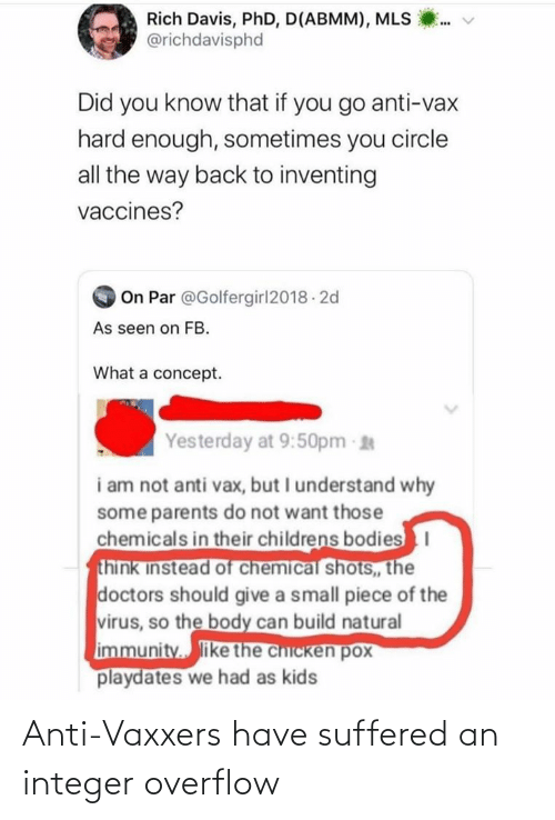 Anti, Integer, and Anti Vaxxers: Anti-Vaxxers have suffered an integer overflow